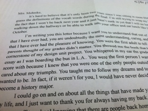 I do love that this student credits me with the desire to teach history...must have been the Transcendentalists....